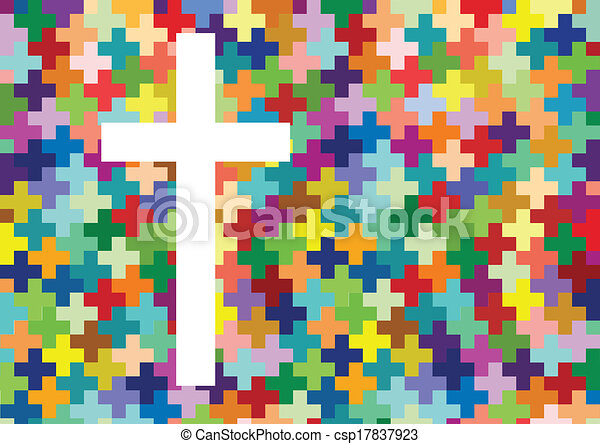 Christianity religion cross mosaic concept abstract background vector illustration for poster - csp17837923
