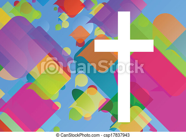 Christianity religion cross mosaic concept abstract background vector illustration for poster - csp17837943