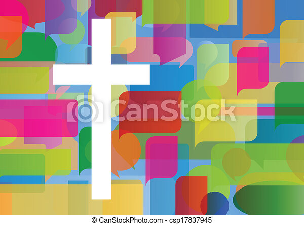 Christianity religion cross mosaic concept abstract background vector illustration for poster - csp17837945