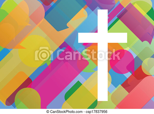 Christianity religion cross mosaic concept abstract background vector illustration for poster - csp17837956