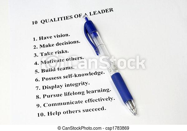 Ten Qualities of a Leader - csp1783869