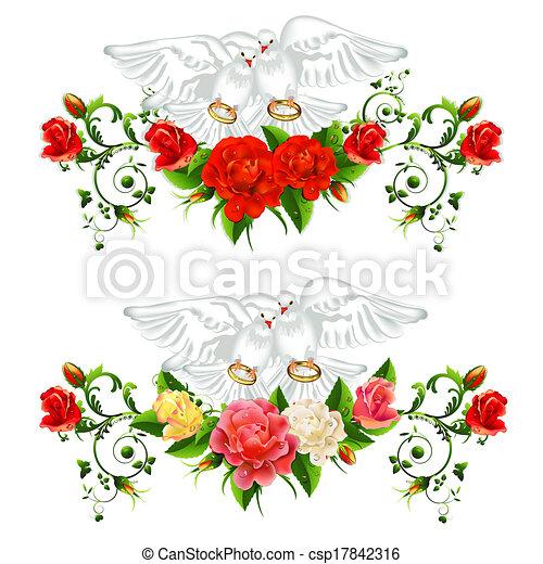 Vector Clip Art de rosas, palomas, boda, anillos csp17842316 ...