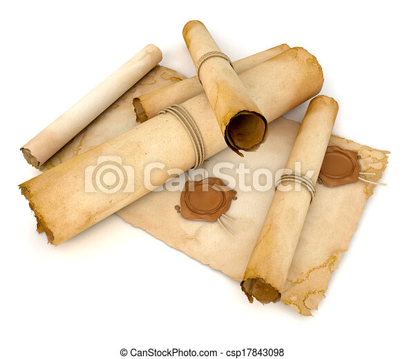 Stock illustration of old paper scroll with wax seal pile for Drawing on wax paper