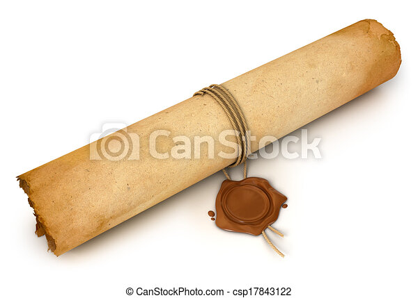 Clip art of old scroll paper with wax seal conceptual for Drawing on wax paper