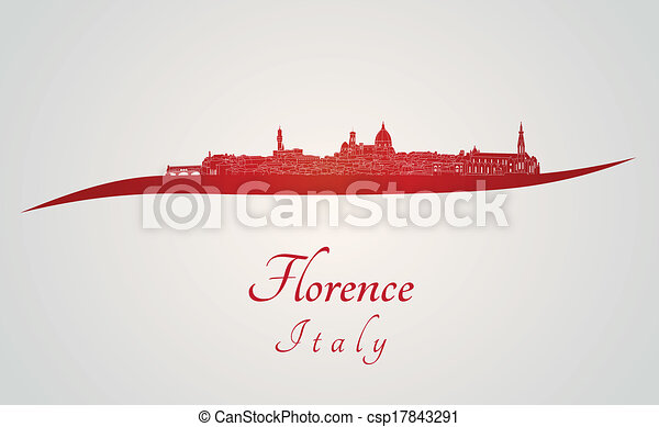 Florence skyline in red - csp17843291