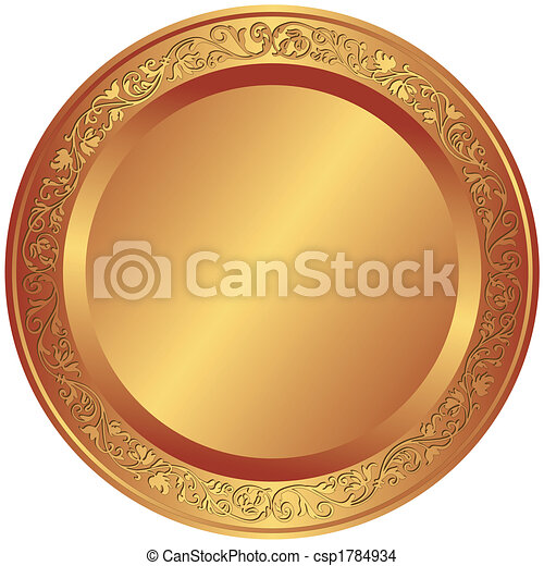 Old-fashioned bronze plate - csp1784934