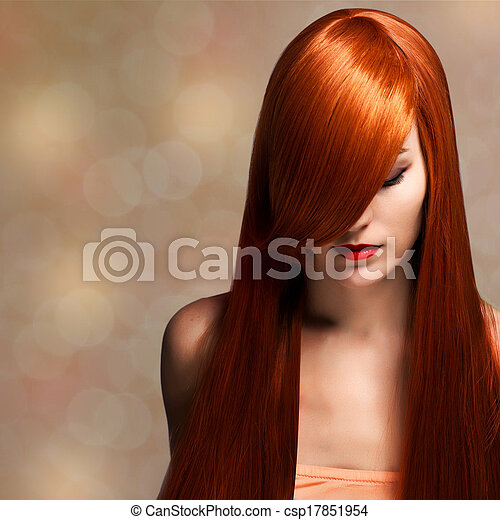 closeup portrait of a beautiful young woman with elegant long shiny hair - csp17851954