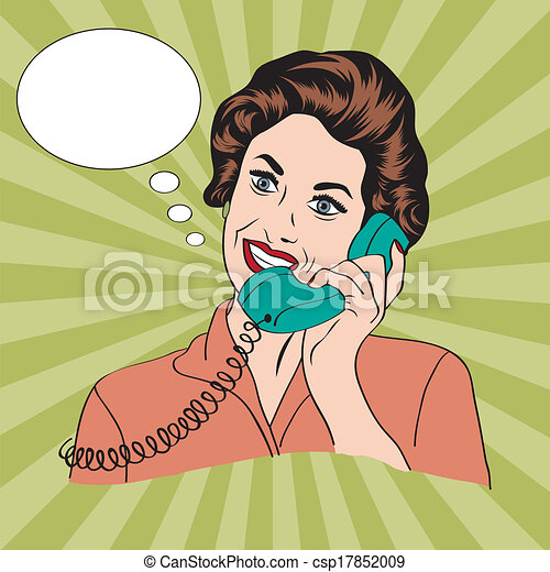 Popart comic retro woman talking by phone - csp17852009