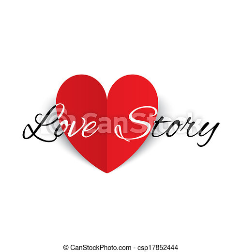 Love story paper heart sign. Valentines day card. - csp17852444