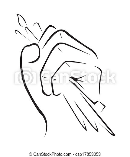 Clipart vector of strong hand pencil simple symbol for Easy hand drawings