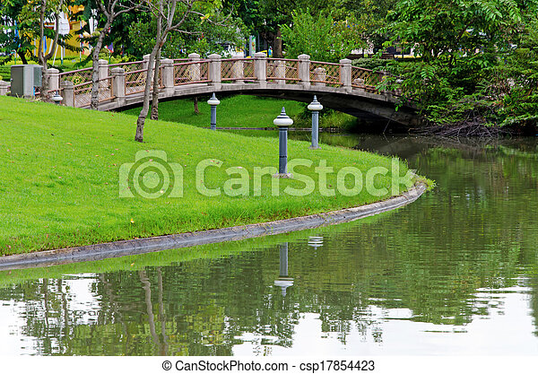 Cement bridges and walkway for exercise with trees in park - csp17854423