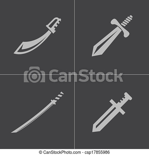 Vector of Vector black sword icons set on gray background ...