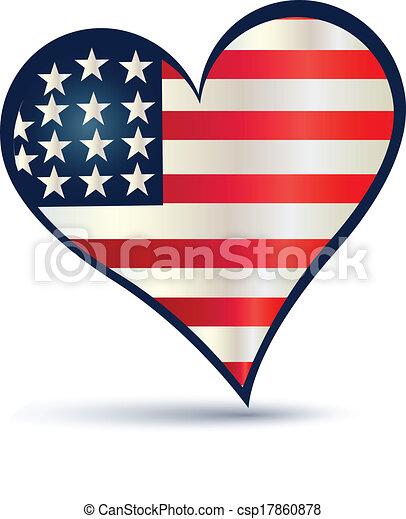 Heart USA flag vector logo - csp17860878