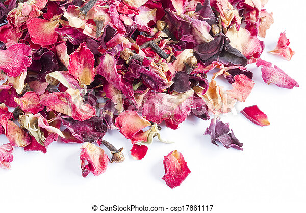 stock photography of dried rose petal pot pourri on a white background csp17861117 search. Black Bedroom Furniture Sets. Home Design Ideas