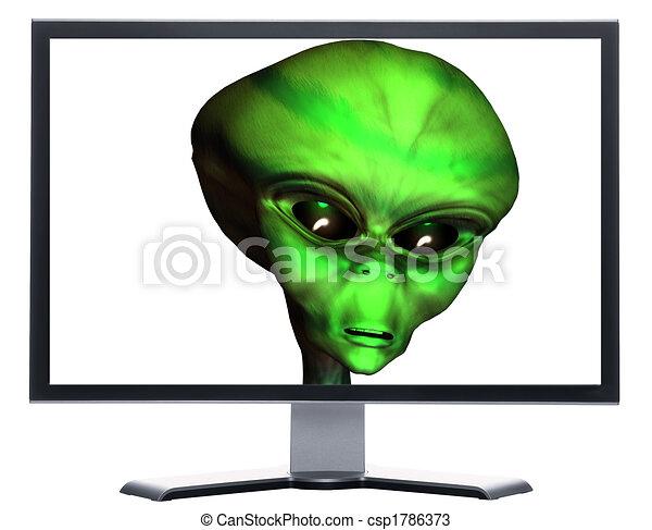 Alien Head Drawing Monitor With 3d Alien Head