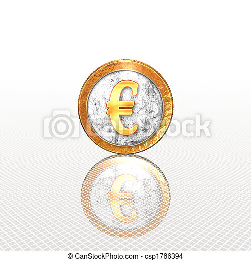 Golden coin with reflectoin on mirror - csp1786394
