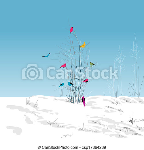 Winter landscape, colorful birds in the tree - csp17864289