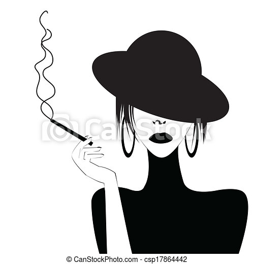 Abstract portrait of a sexy woman smoking - csp17864442