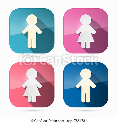 Man and Woman Icons, Symbols in Rounded Squares - csp17864731
