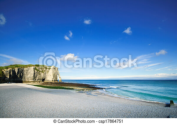 Etretat Aval cliff landmark and beach. Normandy, France. - csp17864751