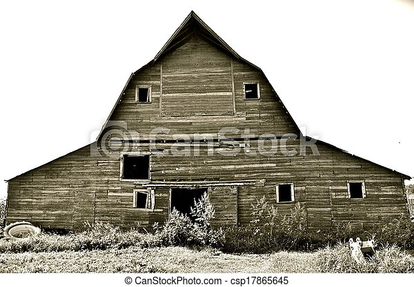 Stock photo of front of a hip roof barn black and white for Hip roof barns