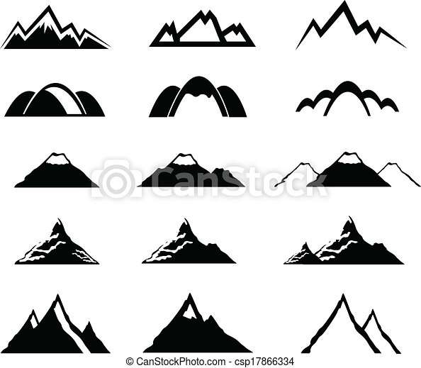 Vectors Of Mountain Icons Set Csp17866334 Search Clip