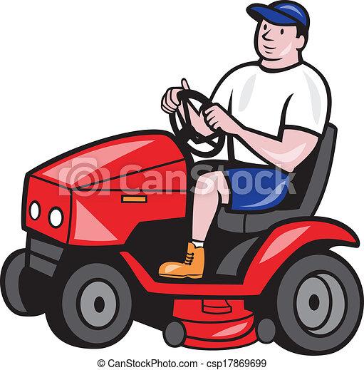 Lawn Mower Drawings Gardener Mowing Rideon Lawn