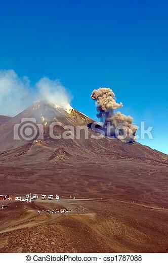 Cloud of ashes at Etna eruption - csp1787088