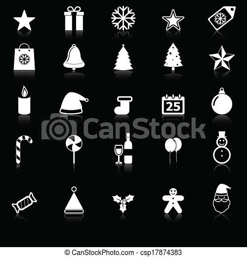 反映しなさい, 黒, クリスマス, 背景, アイ... クリスマス, アイコン, ∥で∥, 反映