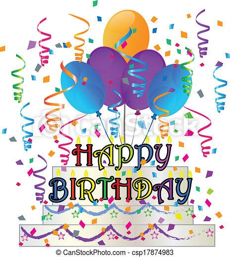 Vector of Happy Birthday cake with confetti vector csp17874983 ...