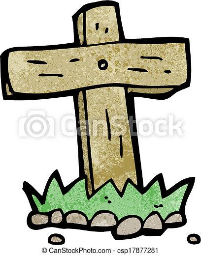 madeira, caricatura, sepultura, crucifixos - csp17877281