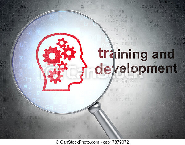 Education concept: Head With Gears and Training and Development with optical glass - csp17879072