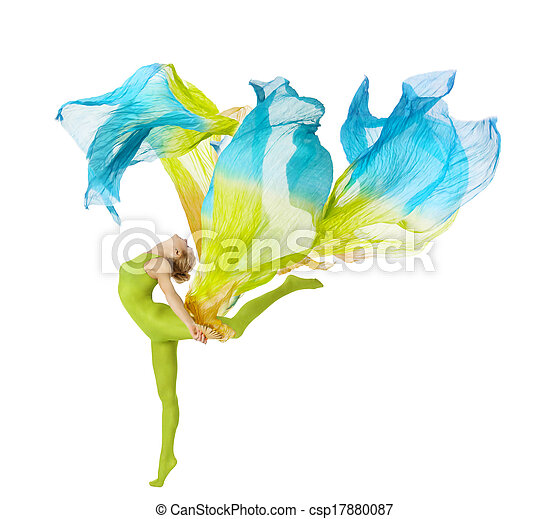 sport woman dancing with flying fluttering colorful fabric. fitness beuty isolated white background - csp17880087
