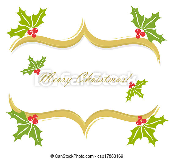 Clip Art Vector of Christmas holly border decoration. Vector greeting ...