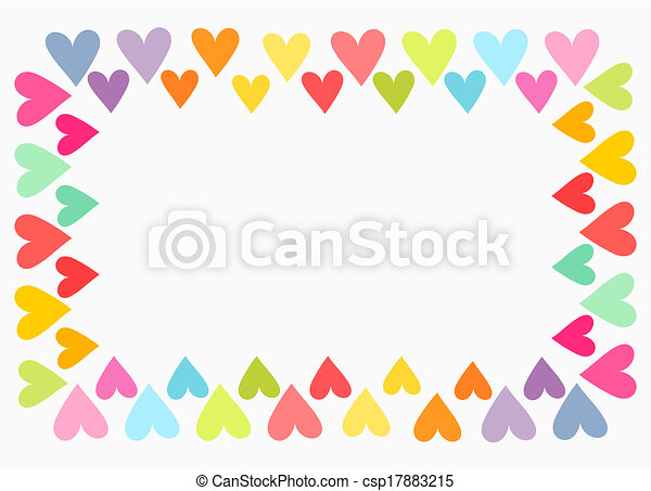 Vector Clip Art of Colorful heart border - Colorful hearts border ...