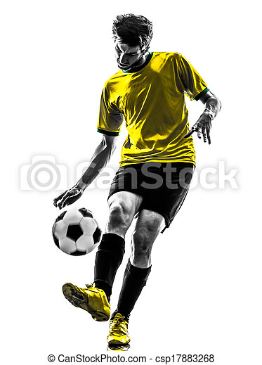 brazilian soccer football player young man silhouette - csp17883268