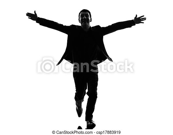 business man arms outstretched silhouette - csp17883919