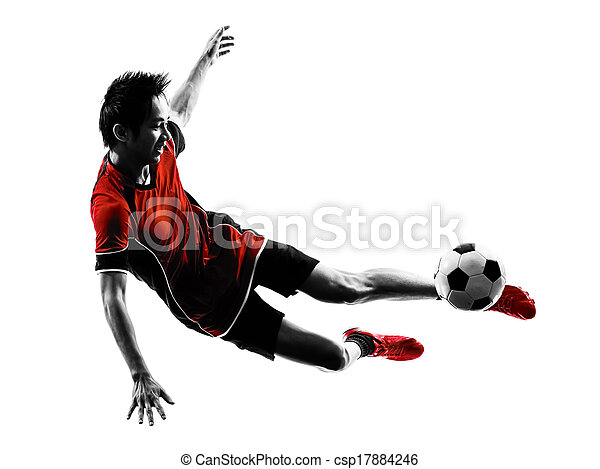 asian soccer player young man silhouette - csp17884246