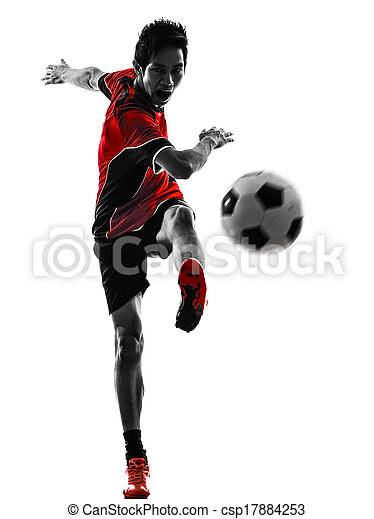 asian soccer player young man silhouette - csp17884253