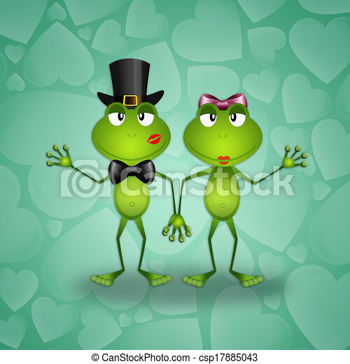 Two Frogs in Love Stock Illustration Two Frogs