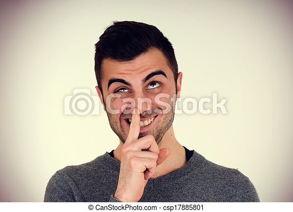 man picks his nose - csp17885801