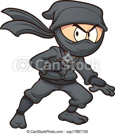 Clipart vecteur de ninja dessin anim dessin anim ninja tenue a toile csp17887100 - Dessin anime ninja ...