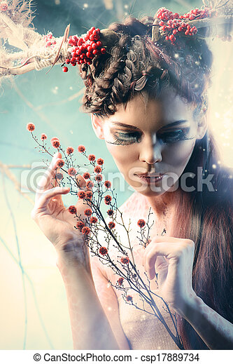 婦女, 藝術 - csp17889734
