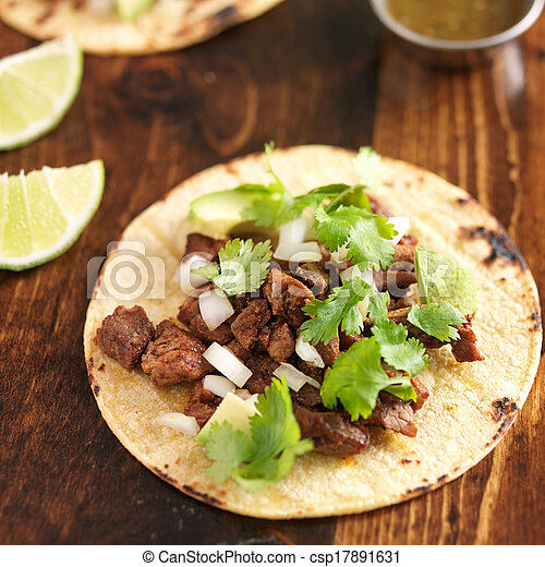 mexican food - soft tortilla corn taco - csp17891631