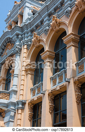 Mediterranean architecture in Spain. Old apartment building in Madrid. - csp17892613