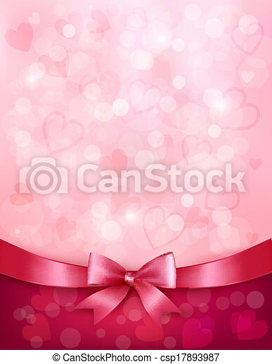 Holiday background with gift pink bow and ribbon. Valentines Day. Vector - csp17893987