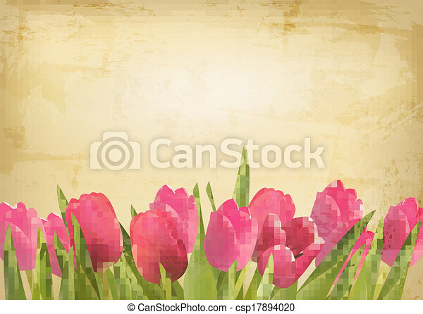 Valentine's day background. Beautiful tulip flowers on vintage texture. Vector - csp17894020