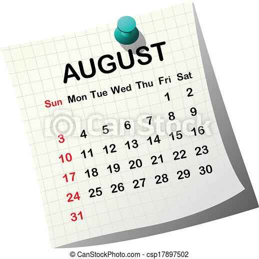 2014, 日历, 纸, 八月 - csp17897502
