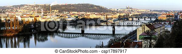 Panorama of bridges on the Vltava - csp17897917