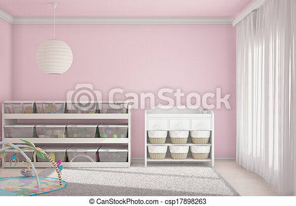 Children room with toys pink - csp17898263